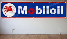 Mobil Oil Banner Flag 2x8Ft Auto Part Oil Banner Garage Wall Decor
