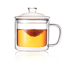 Double Wall Insulated Thermal Tea Cup & Lid GLASS COFFEE Juice MUGS 400ml Gifts~