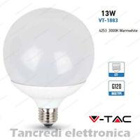 Lampadina led V-TAC 13W = 75W E27 bianco caldo 3000K VT-1883 globo G120 lampada