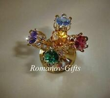 """Gold Russian Imperial Music Box Bouquet """"Fur Elise"""" with Egg Necklace"""