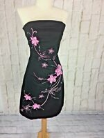 Jane Norman Strapless Size 8 Cotton Elastine Black Dress Pink Embrodierd Flowers