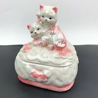 Vtg Luster Ware Pink White Cat Kitten Heart Shaped Trinket Vanity Box