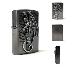 Zippo Lighter GARGORYLE Antique Vintage Matte Silver Brass Emblem Windproof USA