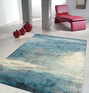 LEON RUG BLUE Grey Large Designer Floor Mat Carpet FREE DELIVERY*