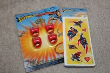 Superman Party Favor Set for 4, Glow in the Dark Rings and Stickers