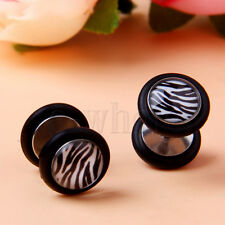 White and Black Zebra Stripes Earrings Barbell 18G Fake Cheater Ear Plug YG