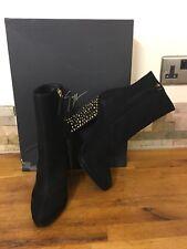 GIUSEPPE ZANOTTI Black Suede Embellished Heel Curci Ankle Boots Size UK 3/EU 36