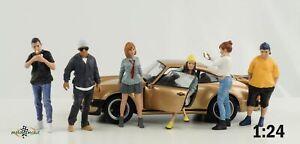 Figurine Car Meet 1 Gathering Boy Girl Figures Set 6 Pcs 1:24 American Diorama
