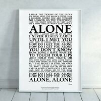 Alone Heart Song Lyrics Print Poster (Unframed)  Wall Art Decor Gift Typography