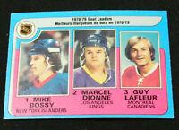 1979-80 O-Pee-Chee #1 Goal Leaders/Mike Bossy/Marcel Dionne/Guy Lafleur - EX-MT+