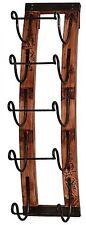 Wine Rack Wall Wood 5-Bottle Hanging Holder Storage Mount Display Decor