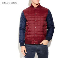 BRAVE SOUL MENS NAVY BURGUNDY HAWKSEYE QUILTED BASEBALL JACKET RRP£39 SAVE 50%