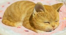 Lying down sleeping Orange Cat Tabby  - Life Like Figurine Statue Home / Garden