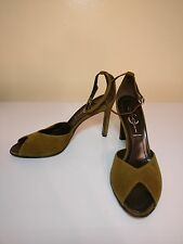 Casadei Peep Toe Suede Olive Green Leather Shoes Heels 7.5 M 7 1/2 M