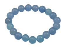 10.4mm  Blue Chalcedony Buddha Buddhist Prayer Beads Tibet Bracelet Mala Bangle