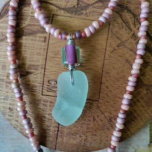 Gift for Her Sea Glass Necklace Surf Beach Hawaii Pink Sea Foam Pastel Colorful