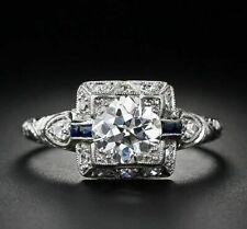 Engagement Ring 14K White Gold Over 1.48Ct Round Moissanite Art Deco Vintage