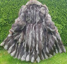 Neuwertig Silver Fox Fur Coat Pelz Mantel Silberfuchs echtfell Jacke Damen 42 44