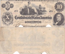 1862 $10 Confederate States Note T-46 Cr-343 Cut Cancelled