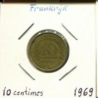 10 CENTIMES 1969 FRANCE French Coin #AM123UW