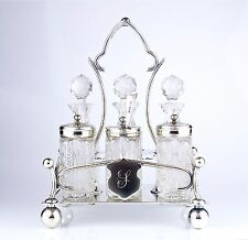 Antique 19th Century English EPN Silver & Cut Glass Cruet Set w/ Sterling Spoon
