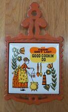 Vintage Cast Iron Kitchen Trivet~Cherry/Japan~KISSIN DON'T LAST GOOD COOKIN DO