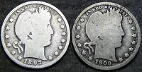 1897-S 1909-O Barber Quarter Dollar Type Coin Lot ---- Nice Lot ---- #G548