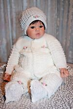 DARLING Knit Baby Doll Outfit For Reborn WHITE w/Pink Rosebuds