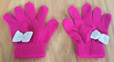 Girls Pink Magic Gloves With Cream Bows