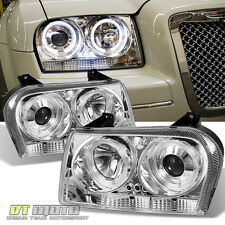 2005-2007 Chrysler 300 LED Halo Projector Headlights Lights Lamps Left+Right Set