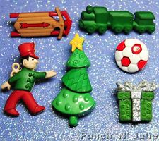 CHRISTMAS BOY - Toy Soldier Train Sledge Football Tree Dress It Up Craft Buttons