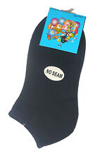 12 PAIRS BOYS SZ 13-3 95% COTTON NAVY ANKLE SPORT SOCKS