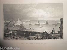 Puerto de Holyhead, Anglesey (Ys Mon) 1853 anticuario galés/Gales Grabado