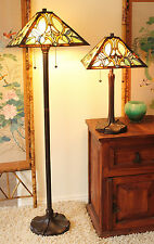 "Tiffany Style Floral Motif Table and Floor Lamp Set 16"" Shade"