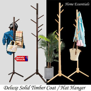 Coat Hat Hanger Stand Clothes Rack Bag Storage Shelf Hook Wooden Tree