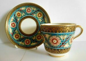 RARE ANTIQUE BROWN WESTHEAD AND MOORE CUP AND SAUCER IN ARTS AND CRAFTS DESIGN