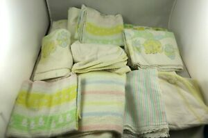 11 VINTAGE BABY RECEIVING BLANKETS, SWADDLING, COTTON, FLANNEL