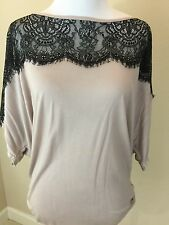 Women's Michaels Stars Draped Tunic Tee Mauve With Black Lace - One Size