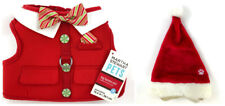 2 Christmas Holiday Dog Accessories Elf Harness Vest and Santa Hat Size Small