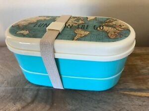 Sass & Belle bento box lunchbox - lunch on the go inc fork & spoon, map pattern