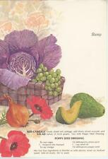 VINTAGE GARDEN POPPY FLOWERS CABBAGE SALAD RECIPE PRINT 1 SEWING SEAMSTRESS CARD