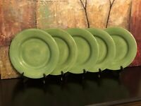 5 Tabletops Unlimited Espana Large Dinner Plates Sage Dark Green Hand painted