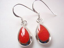 Reversible Red Coral and Mother of Pearl 925 Sterling Silver Teardrop Earrings