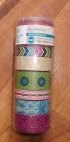 Recollections Washi Tape - BOHO / BOHEMIAN - Green/Pink/Gold  - 8 Rolls - NEW!