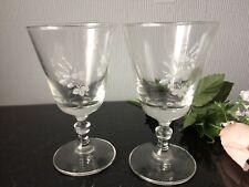 Vintage Clear Wine Port Glasses Set of 2 Goblets Cups 100ml Etched Floral Design