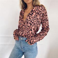 UK Women Leopard Print Chiffon Blouse Shirt Long Sleeve Ladies Tops Size 6-18