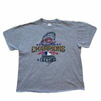 Gildan Mens Chicago Cubs 2016 World Series Champions MLB T Shirt Tee Gray XL