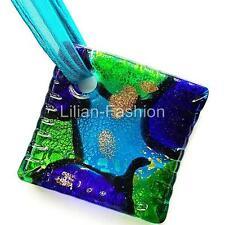 Silver Aqua Square Lampwork Glass Murano Bead Pendant Ribbon Wax Cord Necklace