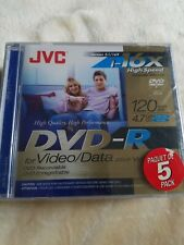 JVC 5-Pack 16x high speed DVD-R recordable DVD's 120 min, 4.7 GB factory sealed