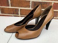 Jil Sander Size 7 / 38 Classic Tan Leather Pumps Peep Toe High Heels Shoes